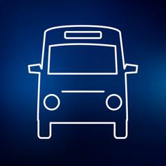 Minibus icon. Passenger vehicle bus sign. Public transport bus symbol. Thin line icon on blue background. Vector illustration.
