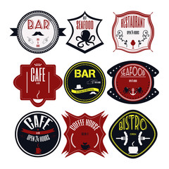 Set retro vintage badges, ribbons and labels hipster signboard