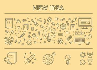 Line design concept web banner for new idea