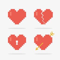 Wall Murals Pixel 8 Bit Heart Icons Set in Vector