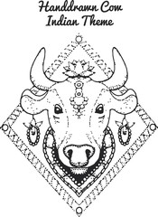 handdrawn Illustration of indian cow