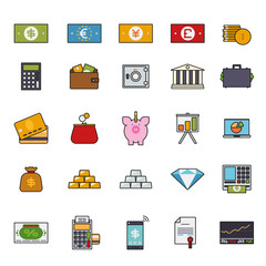 Finance and money filled line icon vector set
