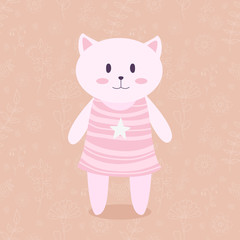 Cat in a pink dress on a floral background. Vector.