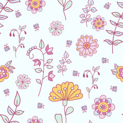 Floral pattern. Doodle. Vector.
