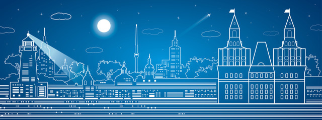 Old castle, night town on background, city infrastructure, vector design art composition