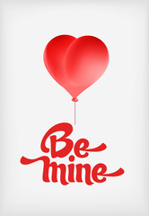 Vector red heart-shaped balloons set. Valentine day card