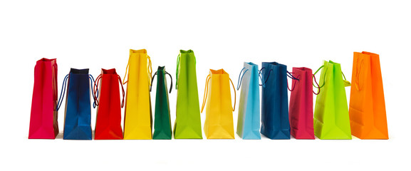 many colorful shopping bags