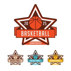 Basketball championship logo set
