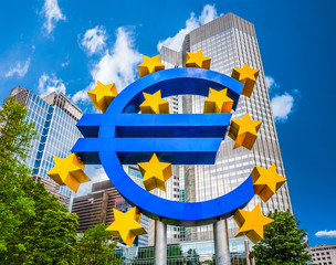 Euro sign at European Central Bank in Frankfurt, Germany