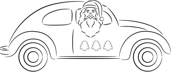 Santa Claus in Car