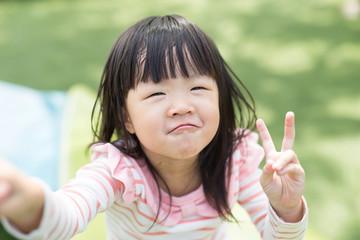 Happy Cute little girl selfie