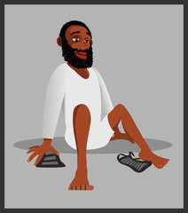 cartoon vector illustration of a Muslim removing shoes