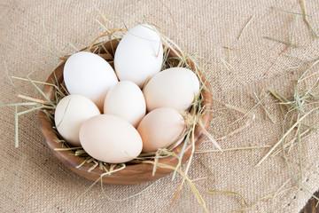 eggs on wood vintage background