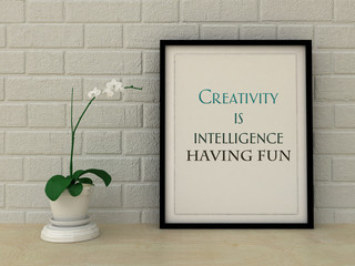 Motivation words creativity is intelligence having fun. Inspirational quotation. Self development, Life, Happiness concept.  Home decor art. Scandinavian style