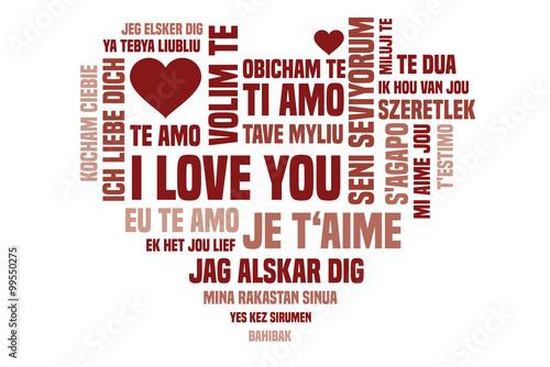 Ich liebe dich auf verschiedenen Sprachen Stockfotos und