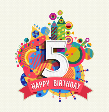 Happy birthday 5 year greeting card poster color
