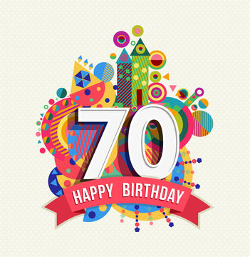Happy birthday 70 year greeting card poster color