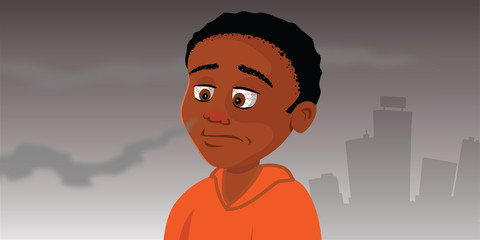 cartoon vector illustration of a child smelling smoke