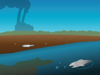 cartoon vector illustration of a polluted river