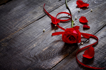 Beautiful red rose on a wooden table with a red ribbon, place fo