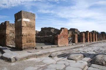 View of the ruins antique city  Pompei  in southern Italy.