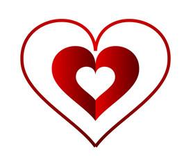 Valentine hearts on white background