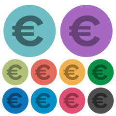 Color euro sign flat icons