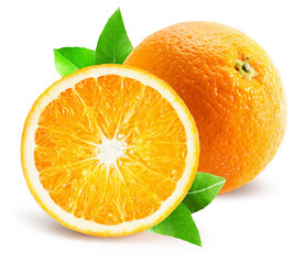 Illustration: orange with half of orange isolated on the white ...