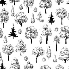 Seamless hand drawn tree sketches pattern.