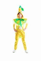 boy in fresh lemon masquerade costume,yellow cap, green bow