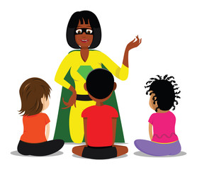 cartoon vector illustration of a teacher with students