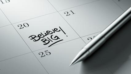 Closeup of a personal agenda setting an important date written w