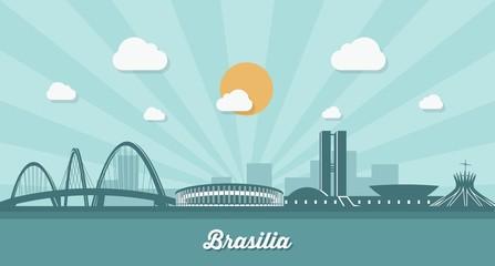 Wall Mural - Brasilia skyline - flat design