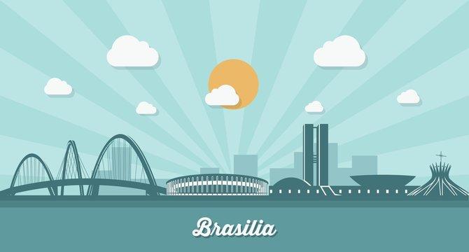 Brasilia skyline - flat design