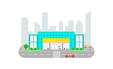 Urban Landscape with Supermarket  Building - vector flat illustration.