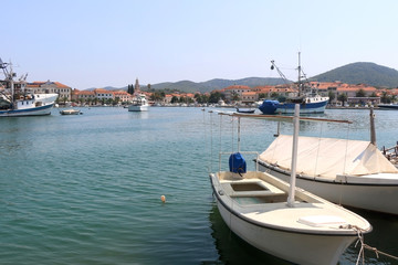 Fishing boats in port of Vela Luka, Korcula island, Croatia.