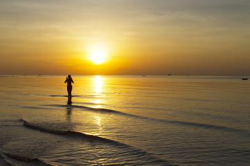 Sunrise body woman silhouette