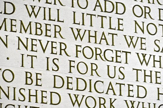Words written on the Lincoln memorial
