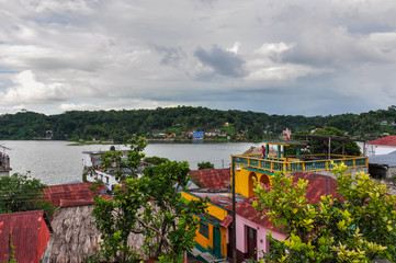 Colorful houses of Flores, Guatemala