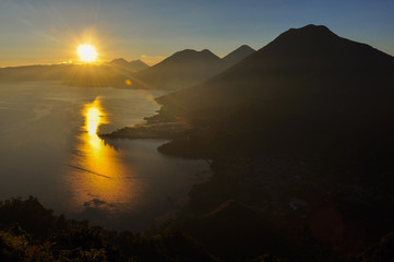 Sunrise from Narriz del Indio over Lago Atitlan, Guatemala
