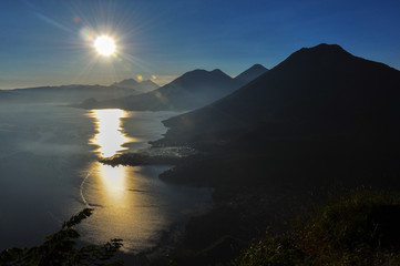 Sunrise from Narriz del Indio over Lago Atitlan, Guatemala