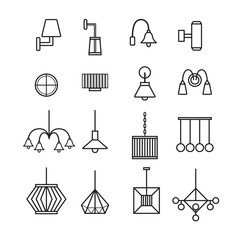 lamp vector,wall lamp,chandelier, decorate lamp icon set