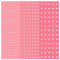Vector geometric pattern with hearts repeating texture on pink b
