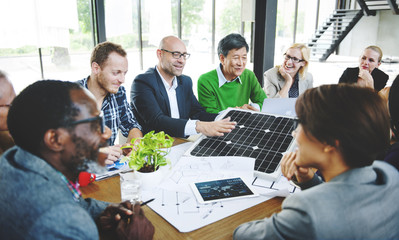 Business People Discussion Solar Power Energy Concept