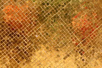 golden texture  with hundred of squared golden tiles