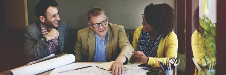 Group Architect Meeting Planning Blueprint Concept