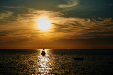 Picturesque sea view with sunset and horizon line in Andaman sea near Phuket