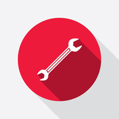 Wrench key icon. Repair fix tool symbol. Round red circle flat icon with long shadow. Vector