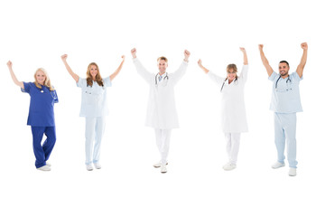 Happy Medical Team Standing With Arms Raised