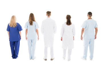 Medical Professionals Standing Against White Background